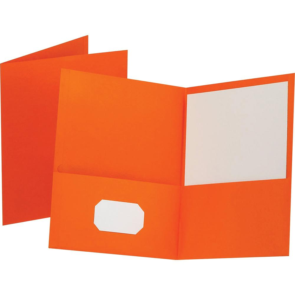 "Oxford Letter Recycled Pocket Folder - 8 1/2"" x 11"" - 100 Sheet Capacity - 2 Internal Pocket(s) - Leatherette Paper - Orange - 10% - 25 / Box. Picture 1"