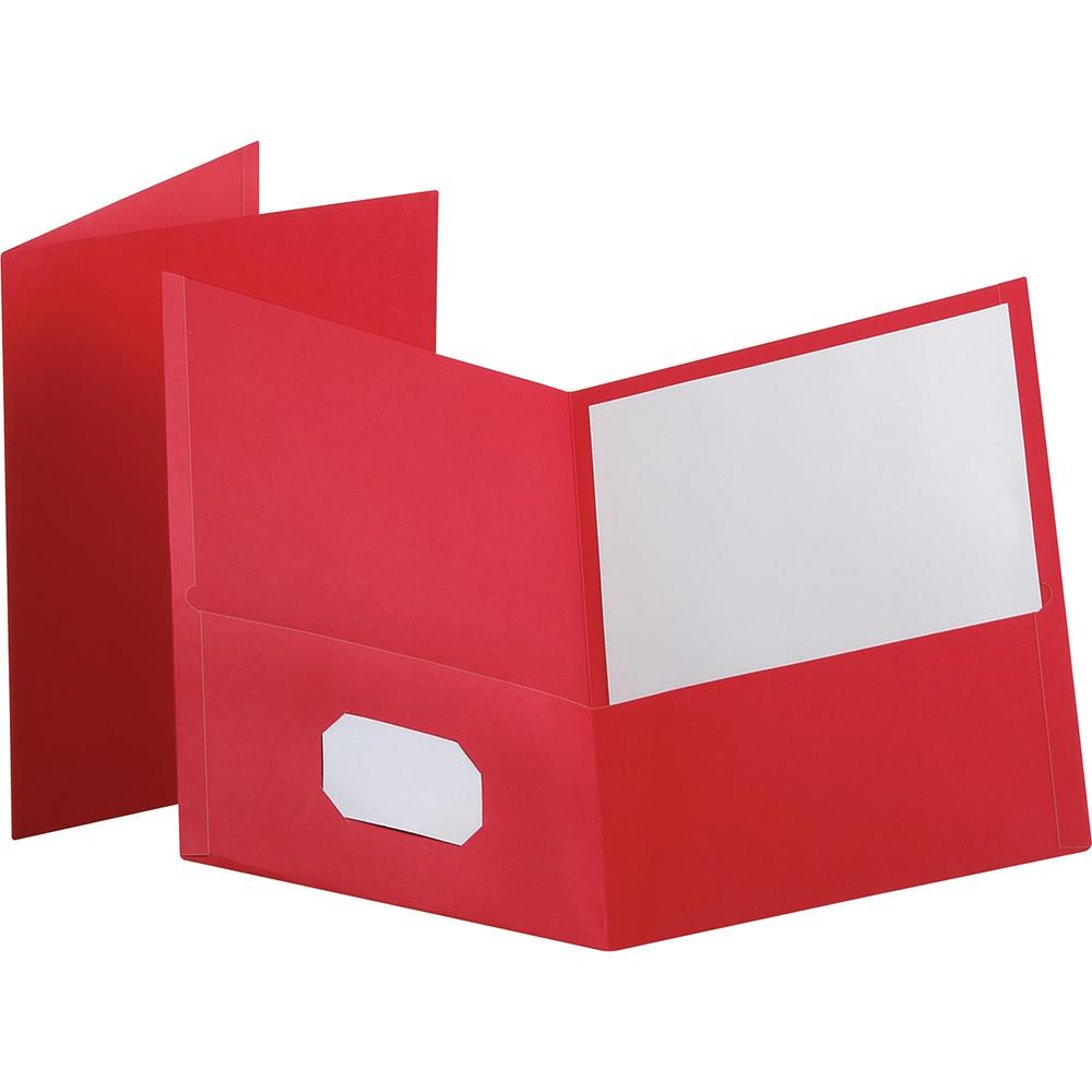 """Oxford Letter Recycled Pocket Folder - 8 1/2"""" x 11"""" - 100 Sheet Capacity - 2 Internal Pocket(s) - Leatherette Paper - Red - 10% - 25 / Box. Picture 1"""