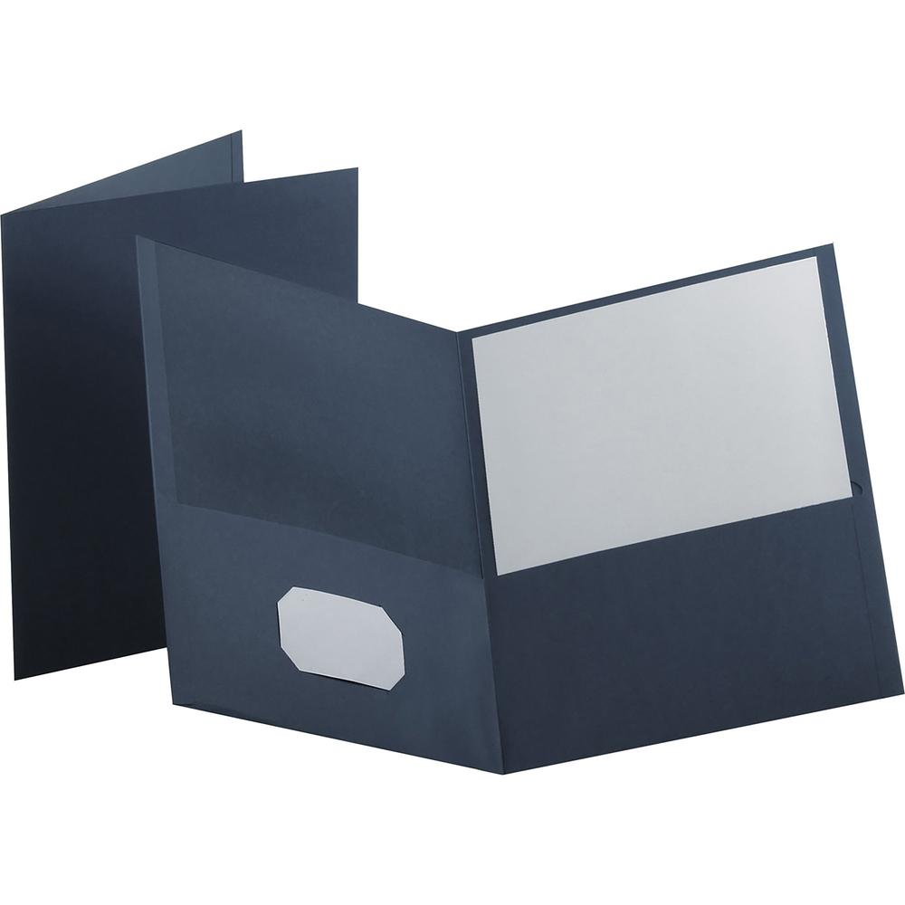 """Oxford Twin Pocket Letter-size Folders - Letter - 8 1/2"""" x 11"""" Sheet Size - 100 Sheet Capacity - 2 Internal Pocket(s) - Leatherette Paper - Dark Blue - Recycled - 25 / Box. Picture 1"""