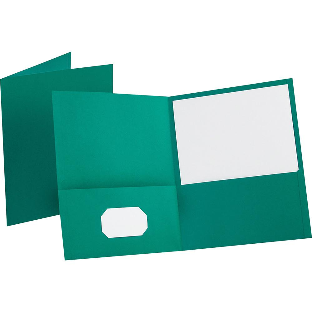 """Oxford Letter Recycled Pocket Folder - 8 1/2"""" x 11"""" - 100 Sheet Capacity - 2 Internal Pocket(s) - Leatherette Paper - Teal - 10% - 25 / Box. Picture 1"""