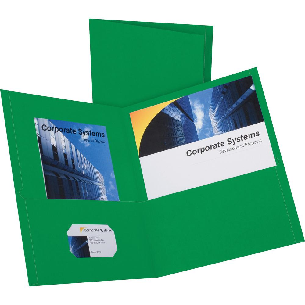 """Oxford Letter Recycled Pocket Folder - 8 1/2"""" x 11"""" - 2 Internal Pocket(s) - Leatherette Paper - Hunter Green - 10% - 25 / Box. Picture 1"""