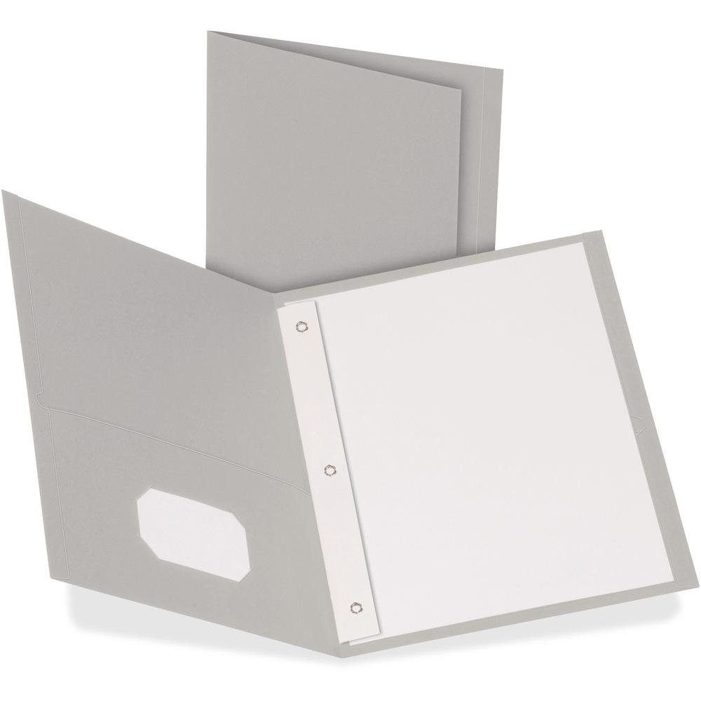 "Oxford Letter Recycled Pocket Folder - 8 1/2"" x 11"" - 3 Fastener(s) - 1/2"" Fastener Capacity for Folder - 2 Inside Front & Back Pocket(s) - Leatherette Paper - Gray - 10% - 25 / Box. Picture 1"