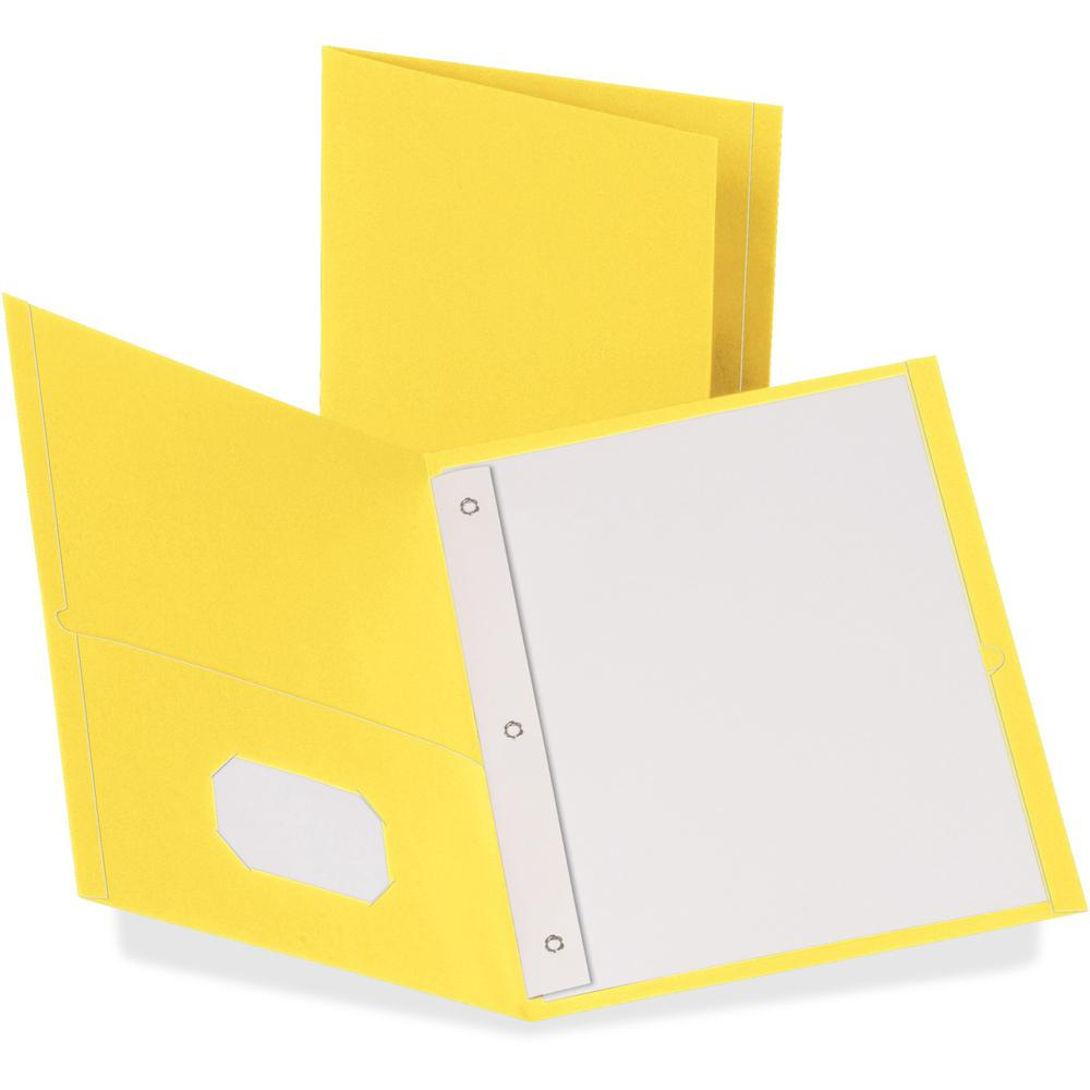 """Oxford Letter Recycled Pocket Folder - 8 1/2"""" x 11"""" - 3 Fastener(s) - 1/2"""" Fastener Capacity for Folder - 2 Inside Front & Back Pocket(s) - Leatherette Paper - Yellow - 10% - 25 / Box. Picture 1"""