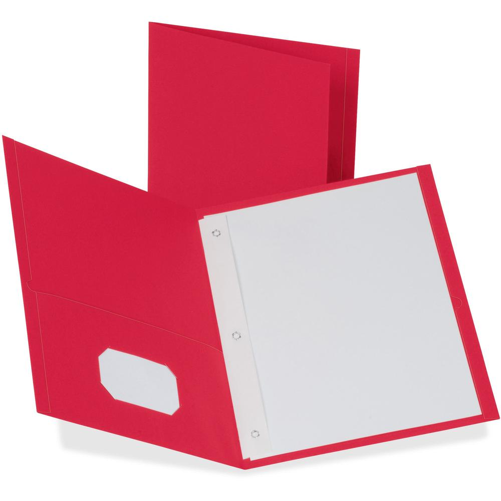 """Oxford Letter Recycled Pocket Folder - 8 1/2"""" x 11"""" - 85 Sheet Capacity - 3 Fastener(s) - 1/2"""" Fastener Capacity for Folder - 2 Inside Front & Back Pocket(s) - Leatherette Paper - Red - 10% Recycled. Picture 1"""