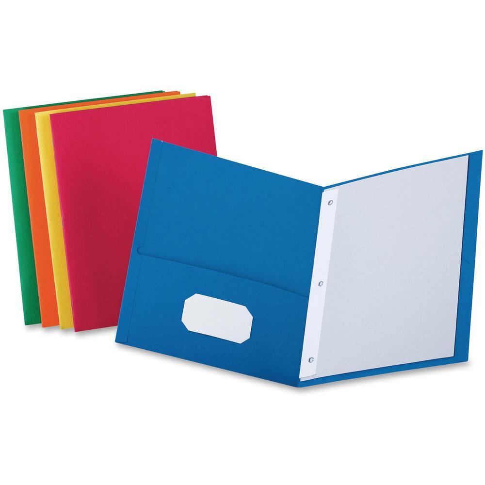 "Oxford Letter Recycled Pocket Folder - 8 1/2"" x 11"" - 3 Fastener(s) - 1/2"" Fastener Capacity for Folder - 2 Inside Front & Back Pocket(s) - Leatherette Paper - Blue, Green, Yellow, Orange, Red - 10% -. Picture 1"