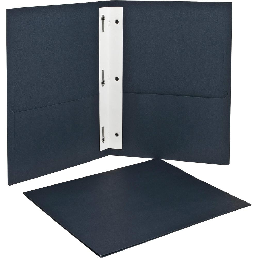 "Oxford Letter Recycled Pocket Folder - 8 1/2"" x 11"" - 3 Fastener(s) - 1/2"" Fastener Capacity for Folder - 2 Inside Front & Back Pocket(s) - Leatherette Paper - Dark Blue - 10% - 25 / Box. Picture 1"