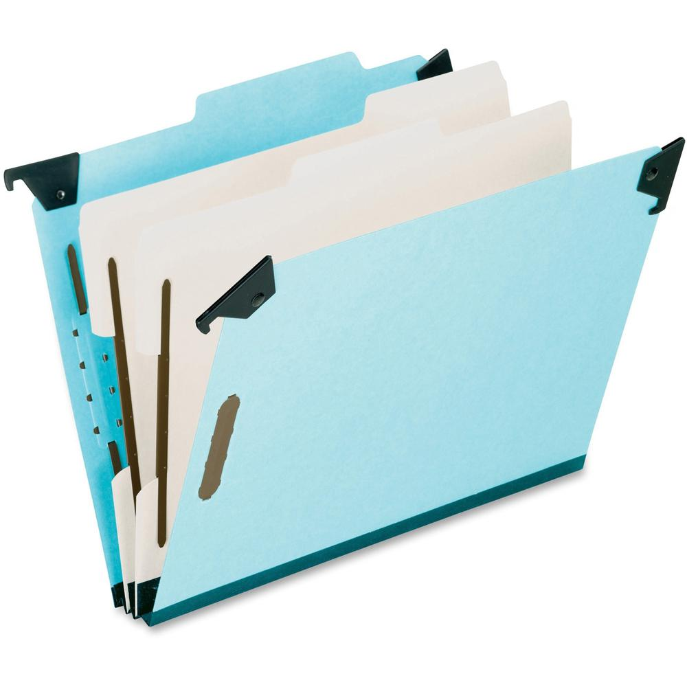 "Pendaflex Letter Recycled Classification Folder - 8 1/2"" x 11"" - 2"" Expansion - 2 3/4"" Fastener Capacity for Folder - 2 Divider(s) - Pressboard - Blue - 65% - 1 Each. The main picture."