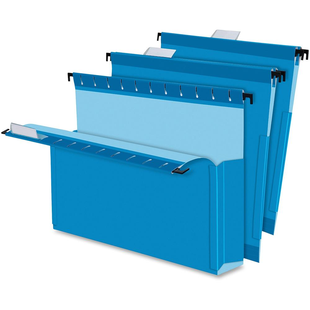 "Pendaflex SureHook Legal Recycled Hanging Folder - 8 1/2"" x 14"" - 3"" Expansion - Blue - 10% - 25 / Box. Picture 1"