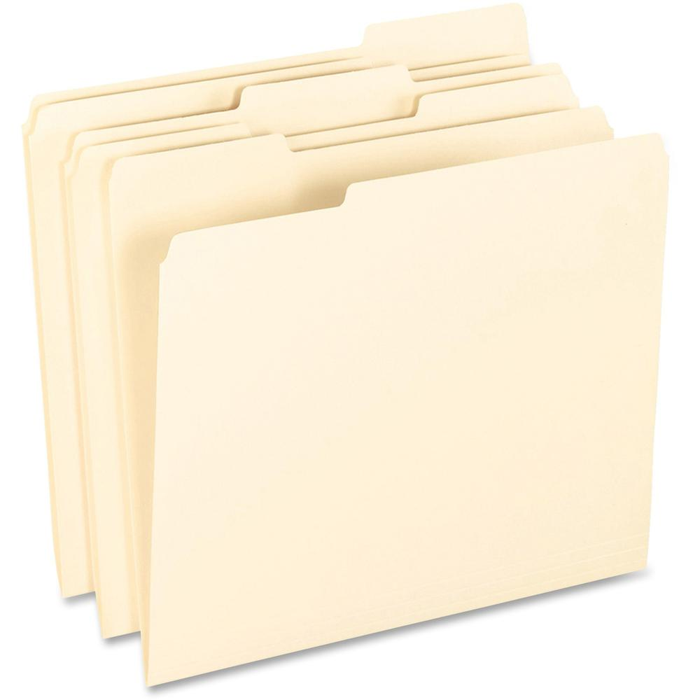 "Pendaflex 1/3 Tab Cut Letter Recycled Top Tab File Folder - 8 1/2"" x 11"" - Top Tab Location - Assorted Position Tab Position - Manila - Manila - 10% - 100 / Box. Picture 1"