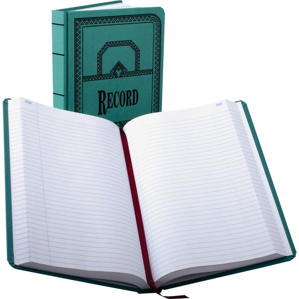 """Boorum & Pease Boorum 66 Series Blue Canvas Record Books - 500 Sheet(s) - Thread Sewn - 7 5/8"""" x 12 1/8"""" Sheet Size - Blue - White Sheet(s) - Blue, Red Print Color - Blue Cover - 1 Each. Picture 1"""