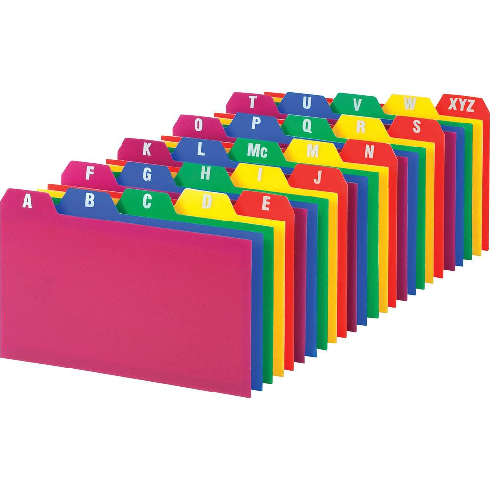 """Oxford A-Z Poly Filing Index Cards - Printed Tab(s) - Character - A-Z - 5 Tab(s)/Set - 5"""" Divider Width x 3"""" Divider Length - Assorted Divider - 25 / Set. Picture 1"""