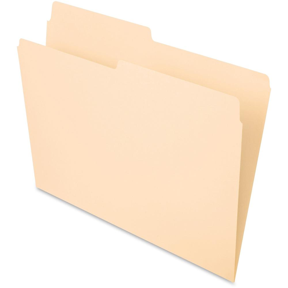 "Pendaflex Essentials 1/2 Tab Cut Letter Recycled Top Tab File Folder - 8 1/2"" x 11"" - 3/4"" Expansion - Top Tab Location - Assorted Position Tab Position - Manila - Manila - 10% - 100 / Box. Picture 1"
