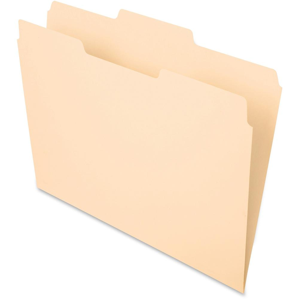 """Pendaflex Essentials 1/3 Tab Cut Letter Recycled Top Tab File Folder - 8 1/2"""" x 11"""" - 3/4"""" Expansion - Top Tab Location - Center Tab Position - Manila - Manila - 10% - 100 / Box. Picture 1"""
