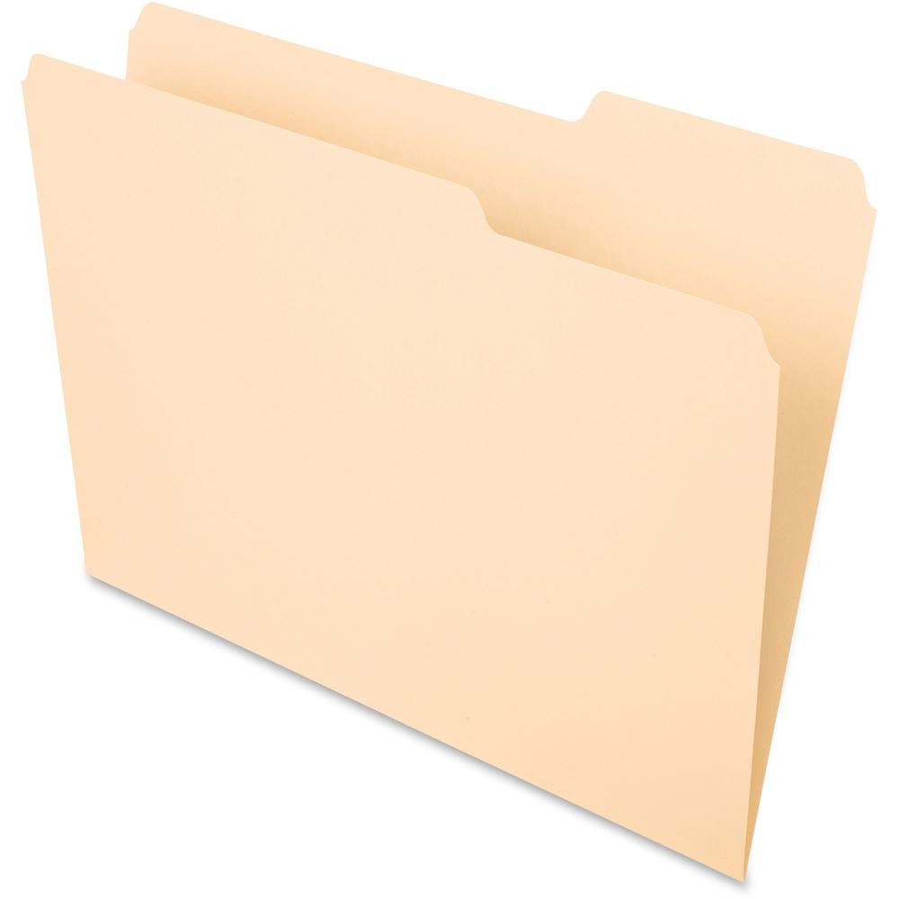 """Pendaflex Essentials 1/3 Tab Cut Letter Recycled Top Tab File Folder - 8 1/2"""" x 11"""" - 3/4"""" Expansion - Top Tab Location - Right Tab Position - Manila - Manila - 10% - 100 / Box. Picture 1"""