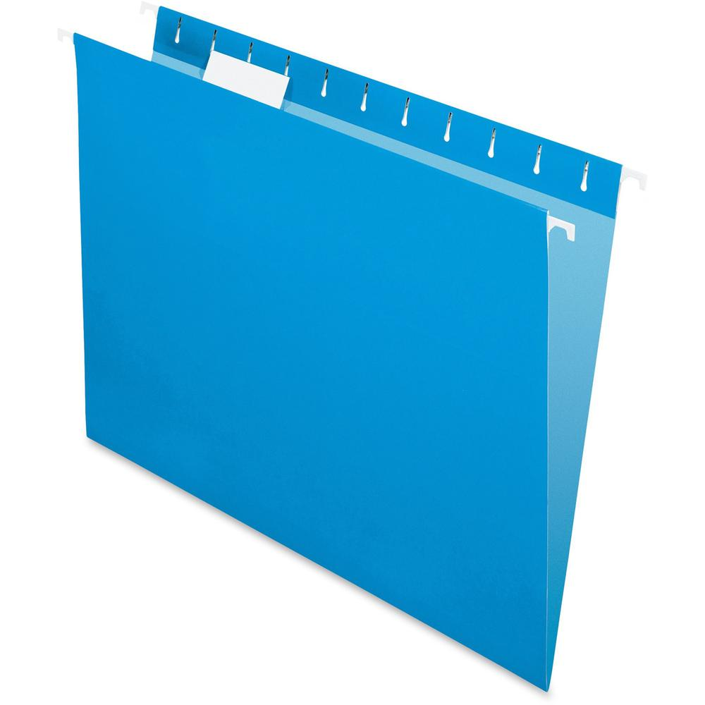 """Pendaflex Colored Hanging Folders - Letter - 8 1/2"""" x 11"""" Sheet Size - 1/5 Tab Cut - Blue - Recycled - 25 / Box. Picture 1"""