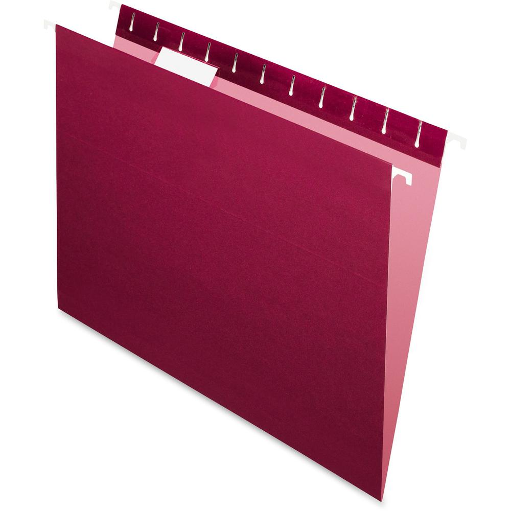 "Pendaflex Essentials 1/5 Tab Cut Letter Recycled Hanging Folder - 8 1/2"" x 11"" - Burgundy - 100% - 25 / Box. Picture 1"