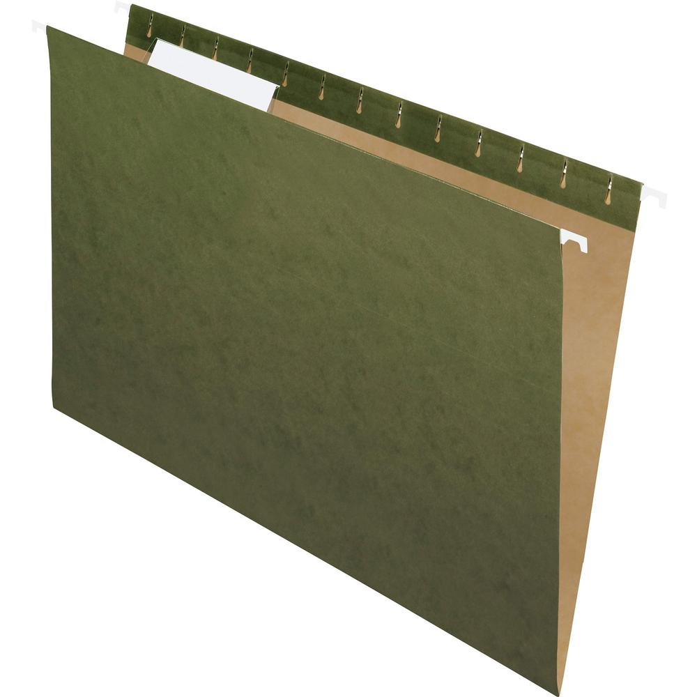 "Pendaflex Recycled Legal Size 1/3-cut Hanging Folders - Legal - 8 1/2"" x 14"" Sheet Size - 1/3 Tab Cut - Standard Green - Recycled - 25 / Box. Picture 1"