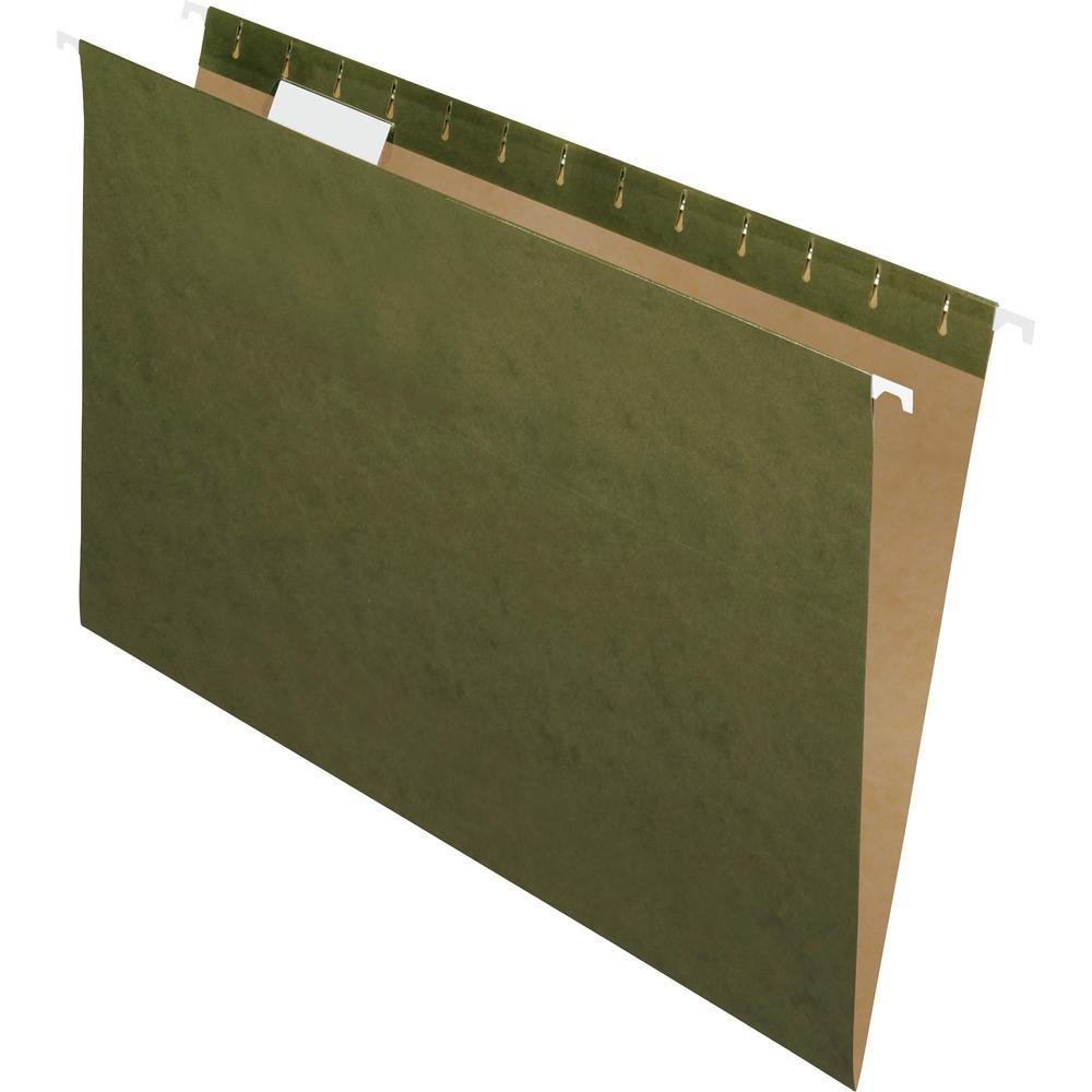 "Pendaflex Essentials 1/5 Tab Cut Legal Recycled Hanging Folder - 8 1/2"" x 14"" - Standard Green - 100% - 25 / Box. Picture 1"