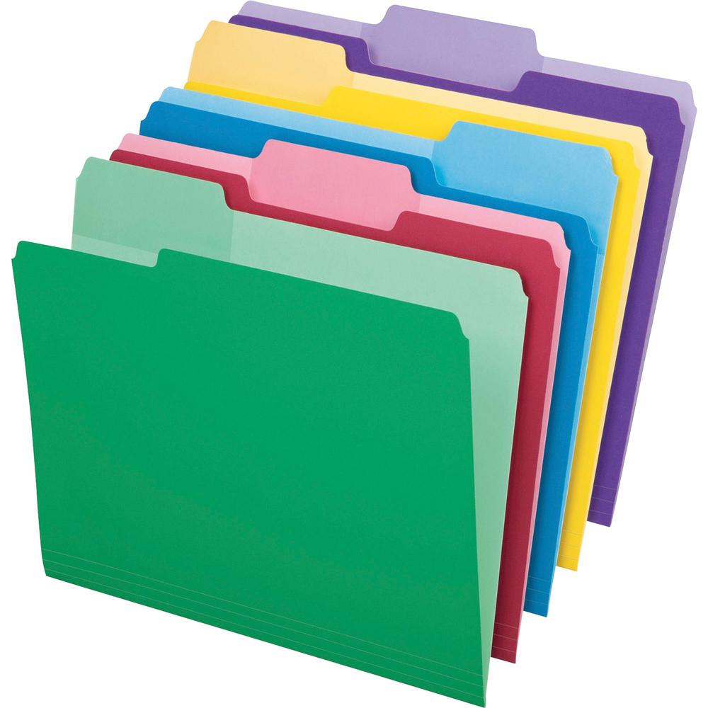 "Pendaflex Erasable Tab File Folders - Letter - 8 1/2"" x 11"" Sheet Size - 1/3 Tab Cut - Top Tab Location - Assorted Position Tab Position - 11 pt. Folder Thickness - Assorted - Recycled - 30 / Pack. Picture 1"