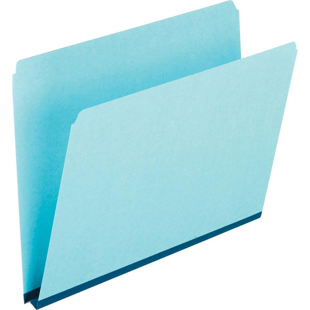"""Pendaflex Letter Recycled Top Tab File Folder - 8 1/2"""" x 11"""" - 1"""" Expansion - Pressboard - Blue - 60% - 25 / Box. Picture 1"""