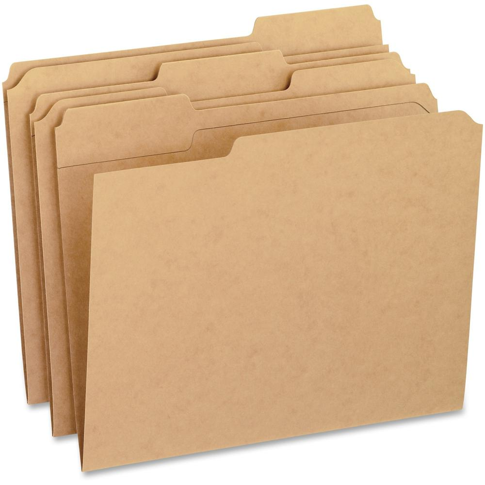 """Pendaflex 1/3 Tab Cut Letter Recycled Top Tab File Folder - 8 1/2"""" x 11"""" - 3/4"""" Expansion - Top Tab Location - Assorted Position Tab Position - Kraft - Kraft - 10% - 100 / Box. Picture 1"""