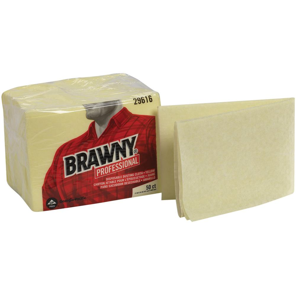 """Brawny® Professional Disposable Dusting Cloths by GP Pro - Wipe - 17"""" Width x 24"""" Length - 50 / Packet - 50 / Pack - Yellow. Picture 1"""