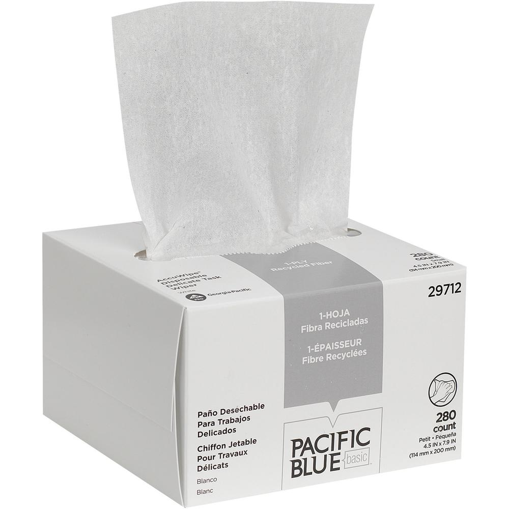 Pacific Blue Basic Recycled 1-Ply Small Disposable Delicate Task Wipers by GP Pro - For Precision Part, Instrument, Lens - Absorbent, Soft, Non-abrasive, Disposable, Streak-free - Fiber - 280 / Box - . Picture 1