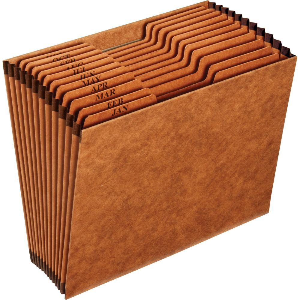 """Pendaflex 1/3 Tab Cut Letter Recycled Expanding File - 8 1/2"""" x 11"""" - 12 Pocket(s) - Top Tab Location - Brown - 10% - 1 Each. Picture 1"""