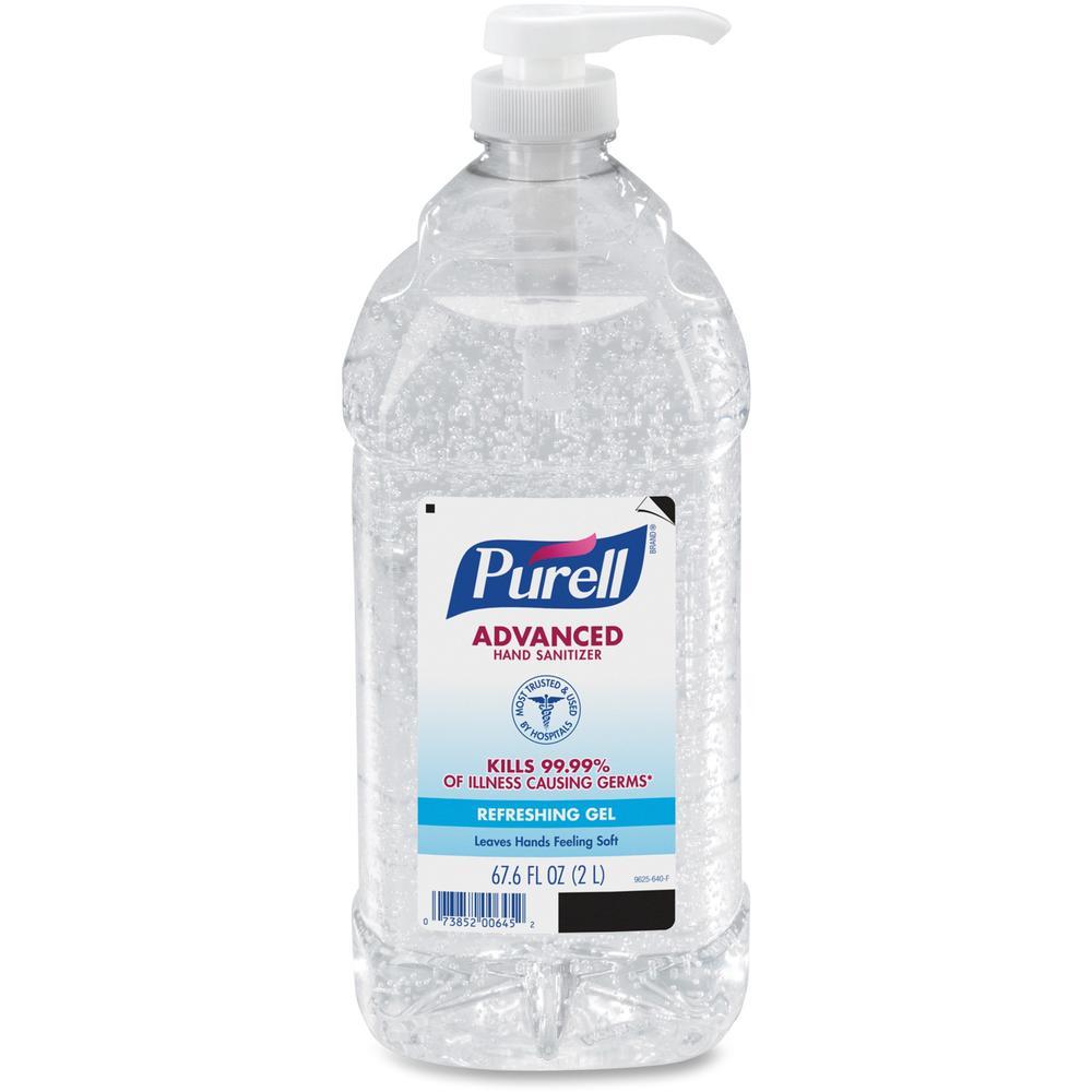 PURELL® Sanitizing Gel - 67.6 fl oz (2 L) - Pump Bottle Dispenser - Hand - Clear - 1 Each. Picture 1