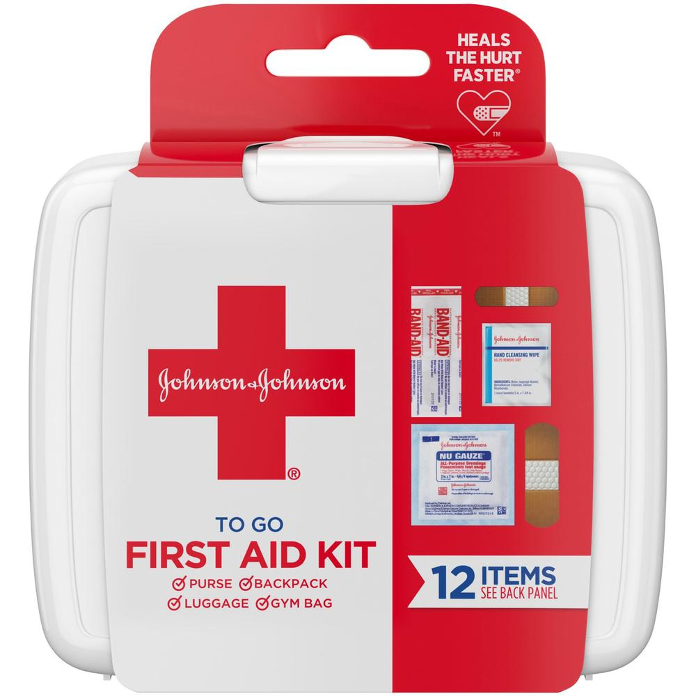 """Johnson & Johnson First Aid To Go Portable Mini Travel Kit - 12 x Piece(s) - 4"""" Height x 4.5"""" Width x 1.3"""" Depth Length - 1 Each - White. Picture 1"""