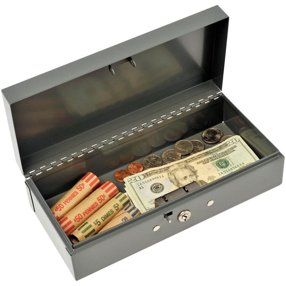 """MMF Cash Bond Box with out Tray - 5 Bill - Steel - Charcoal Gray - 2.9"""" Height x 10.3"""" Width x 4.4"""" Depth. Picture 1"""