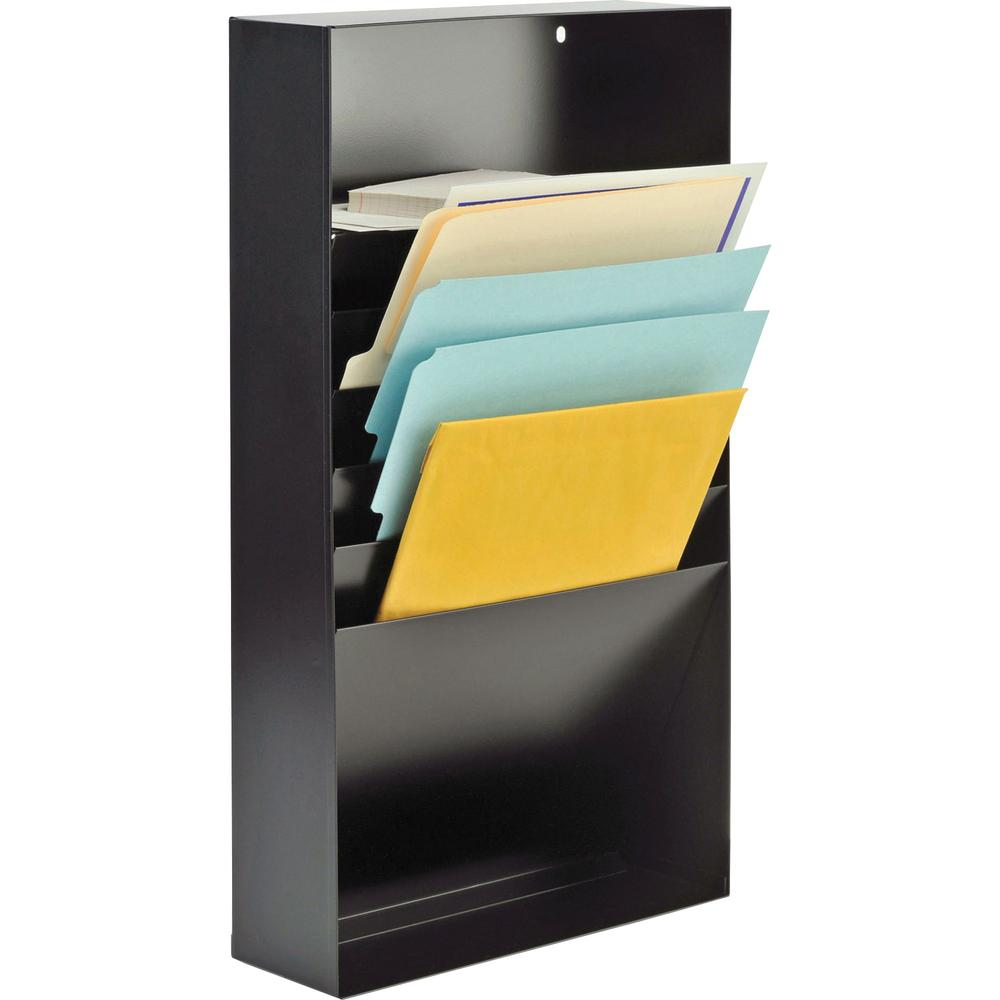 """MMF Desk Drawer Stationery Rack - 10 x Envelope, 10 x Memo Pad - 5 Compartment(s) - 3.8"""" Height x 11.4"""" Width x 21"""" Depth - Non-skid Base, Chip Resistant, Scratch Resistant - 20% - Black - Steel - 1 E. Picture 1"""