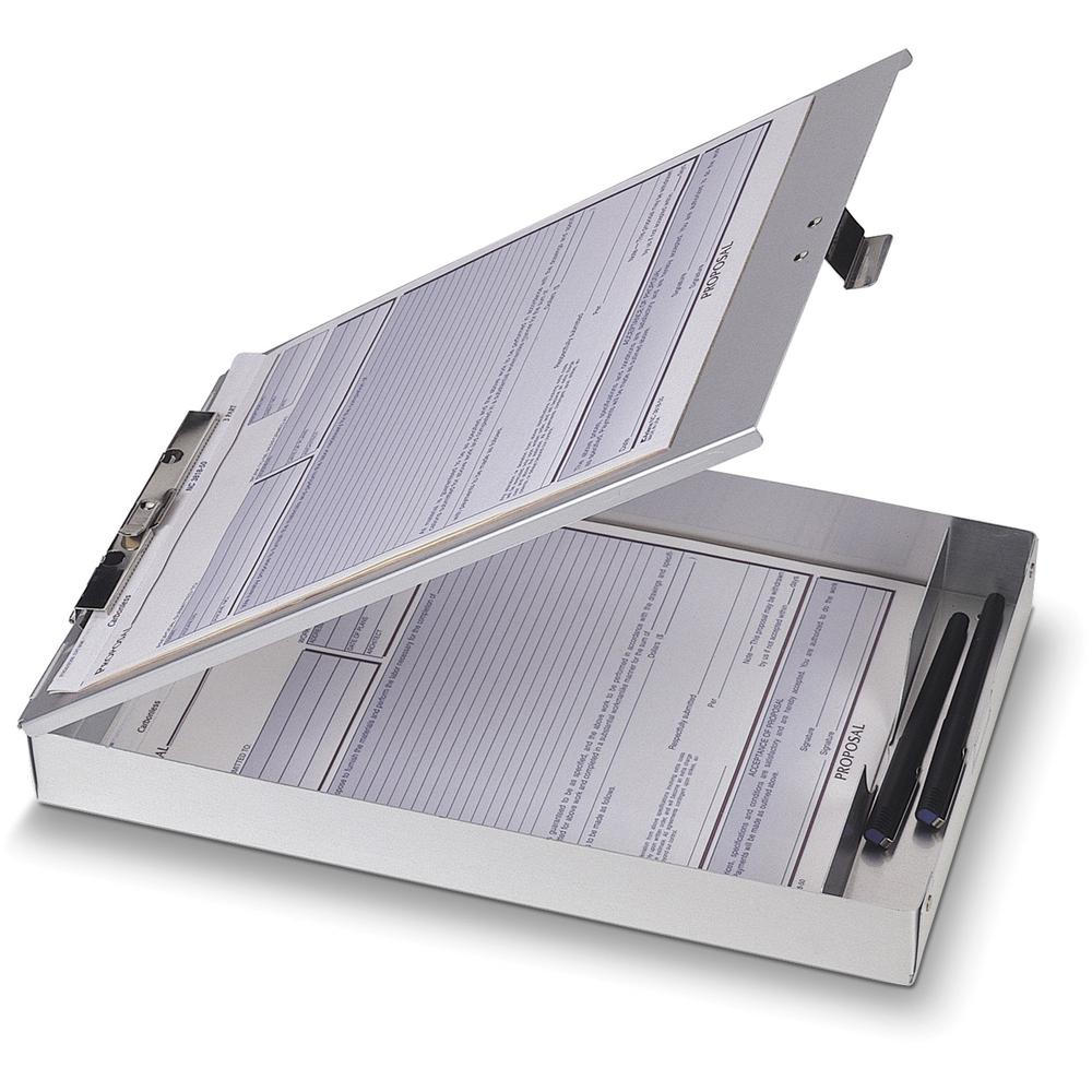"""OIC Aluminum Storage Form Holder - 1"""" Clip Capacity - Stationary - 8 1/2"""" x 12"""" - Aluminum - 1 Each. Picture 1"""