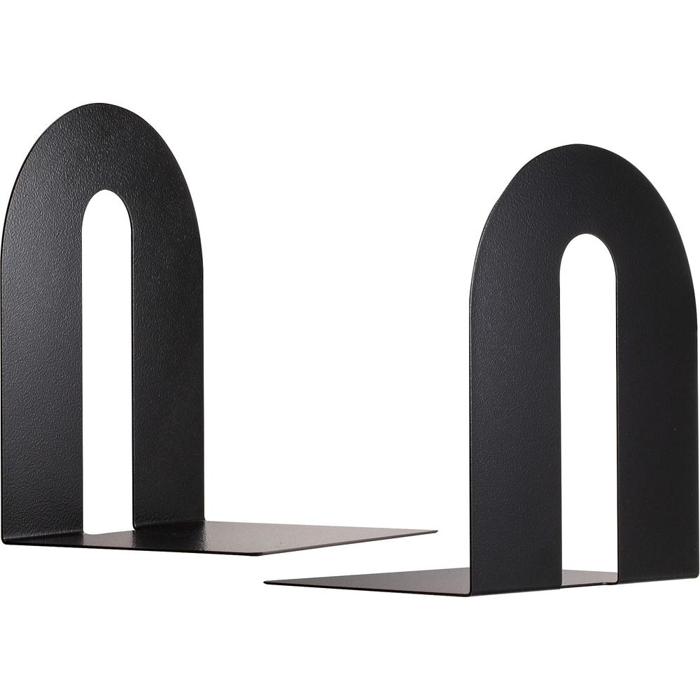 """OIC Steel Construction Heavy-Duty Bookends - 10"""" Height - Desktop - Non-skid Base, Chip Resistant, Non-slip, Scratch Resistant - Black - Steel - 2 / Pair. Picture 1"""