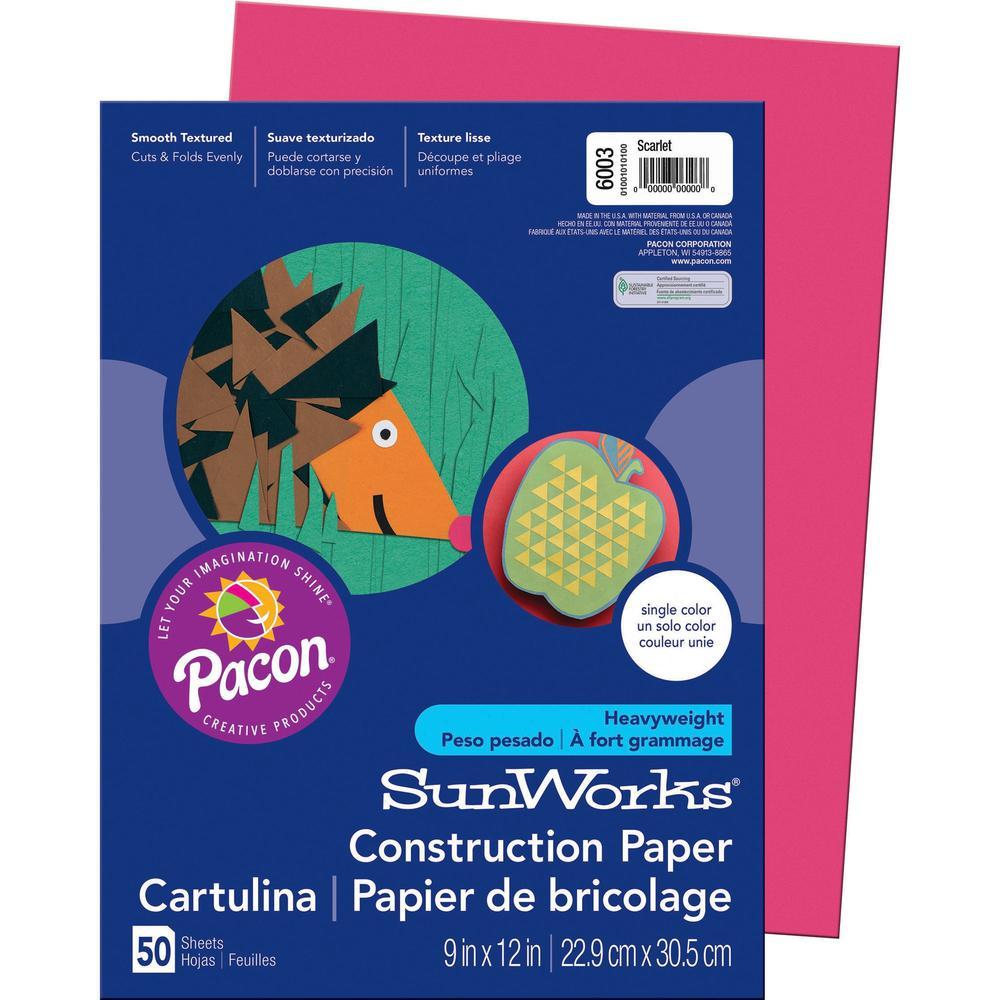 "SunWorks Construction Paper - Multipurpose - 9"" x 12"" - 50 / Pack - Scarlet. Picture 1"