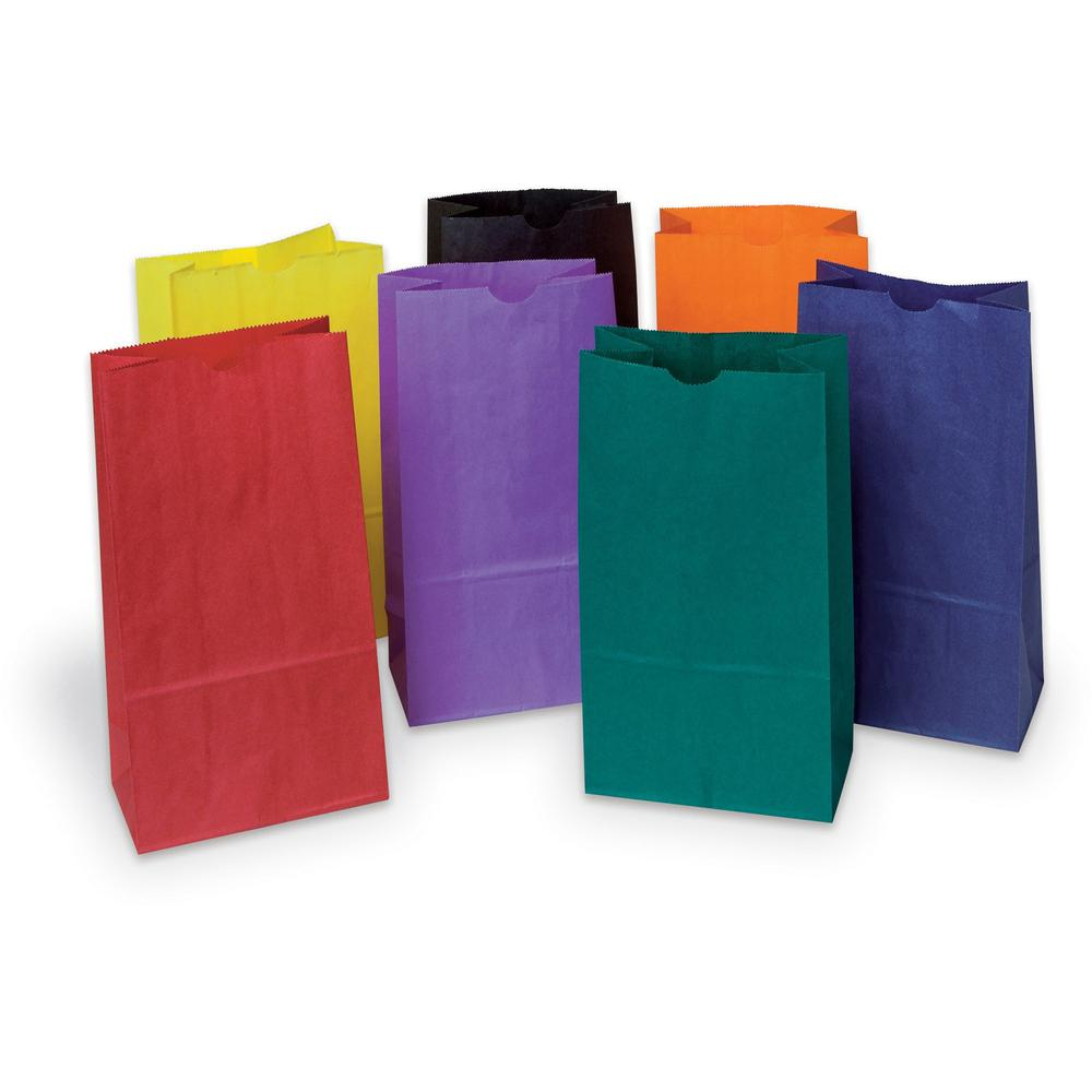 """Rainbow Kraft Bag - Art Project, Craft Project, Bag, Hat - 11"""" x 6"""" - 28 / Pack - Assorted - Kraft. Picture 1"""