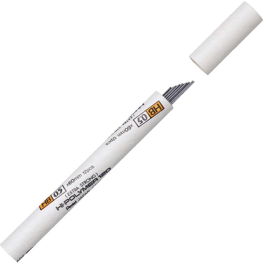 Pentel Premium Hi-Polymer Leads - 0.5 mmFine Point - HB - Black - 12 / Tub. Picture 1