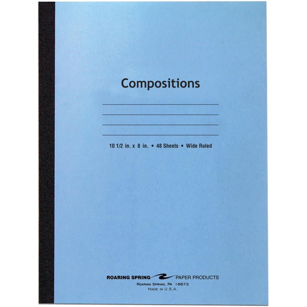 """Roaring Spring Wide Ruled Flexible Cover Composition Book, 10.5"""" x 8"""" 48 Sheets, Blue - 48 Sheets - 96 Pages - Printed - Sewn/Tapebound - Both Side Ruling Surface Red Margin - 15 lb Basis Weight - 56 . Picture 1"""