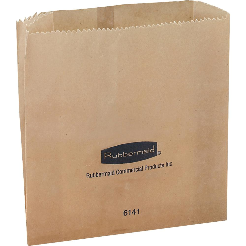 Rubbermaid Commercial Waxed Receptacle Bags - Kraft Paper - 250/Carton. Picture 1
