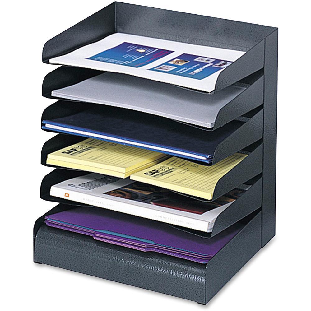 Safco Slanted Shelves Steel Desk Tray Sorter 6 Tier S