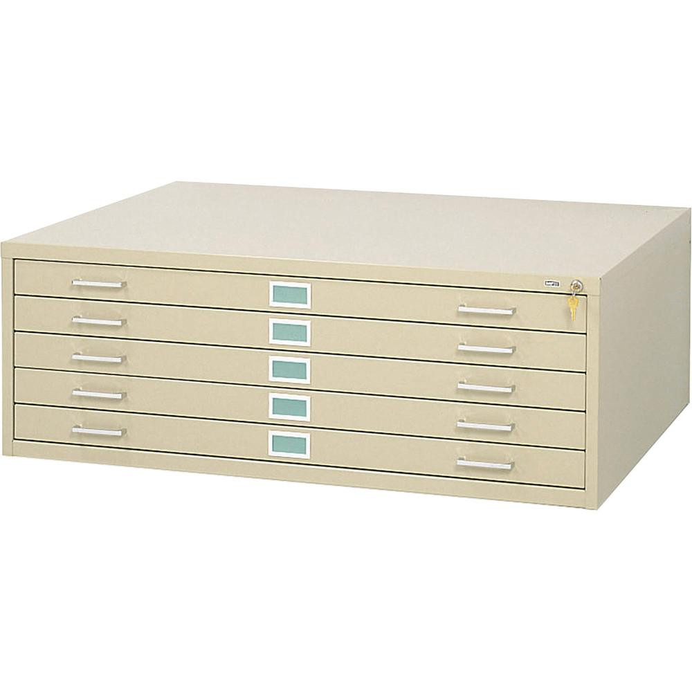 """Safco 5-Drawer Steel Flat File - 46.5"""" x 35.5"""" x 16.5"""" - 5 x Drawer(s) for File - Stackable - Tropic Sand - Powder Coated - Steel - Recycled. Picture 2"""