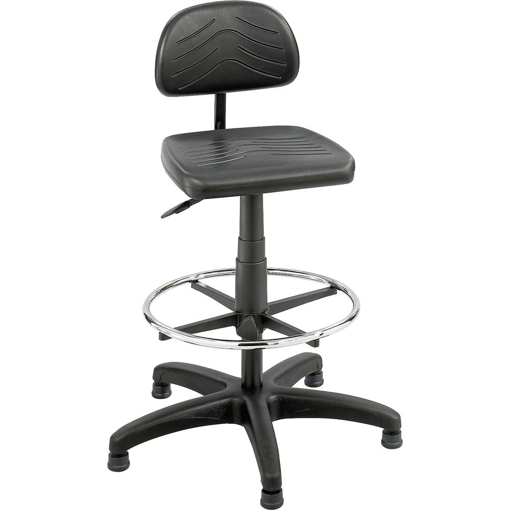 "Safco TaskMaster Economy Workbench Chair - Black Polyurethane Seat - 5-star Base - Black - 16.25"" Seat Width x 16.25"" Seat Depth - 44"" Height - 1 Each. Picture 1"