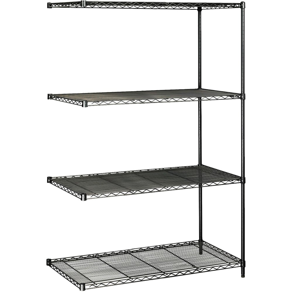 """Safco Industrial Wire Shelving Add-On Unit - 48"""" x 24"""" x 72"""" - 4 x Shelf(ves) - 3200 lb Load Capacity - Adjustable Glide, Durable - Black - Powder Coated - Steel - Assembly Required. Picture 1"""