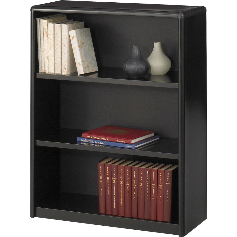 "Safco ValueMate Bookcase - 31.8"" x 13.5"" x 41"" - 3 x Shelf(ves) - Black - Steel, Fiberboard, Plastic - Assembly Required. Picture 1"