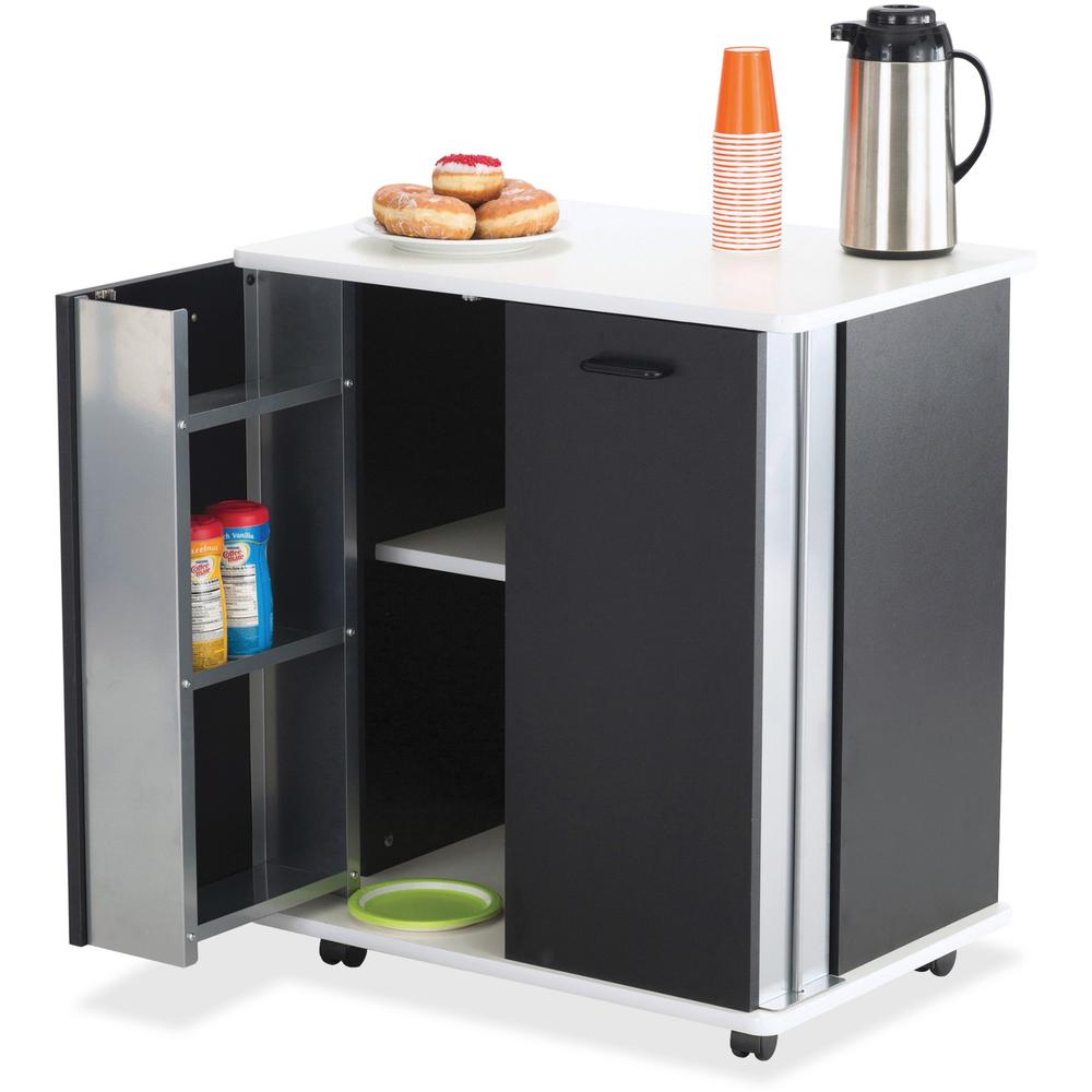 """Safco Mobile Refreshment Stand - 3 Shelf - Melamine, Laminate - x 29.5"""" Width x 22.8"""" Depth x 33.1"""" Height - Black - 1 Each. Picture 1"""