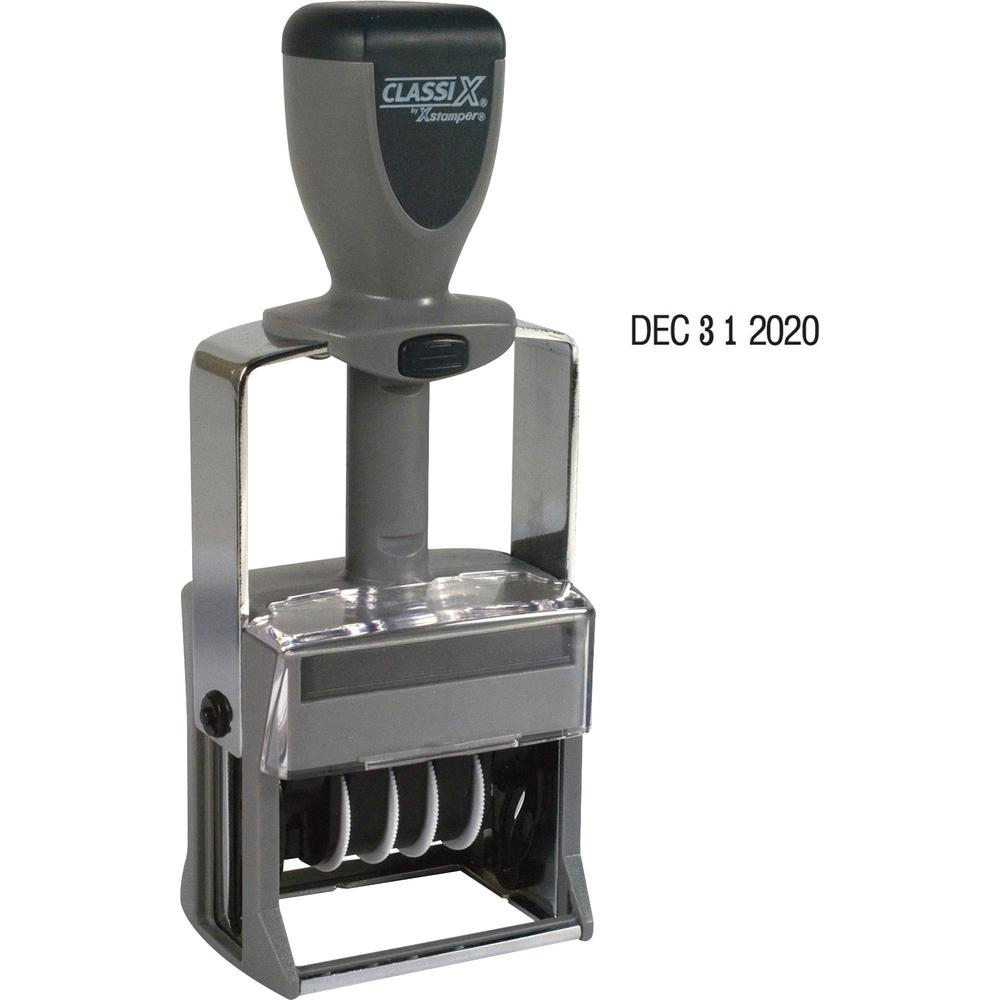 Xstamper 10-Year Self-Inking Line Dater - Date Stamp - Black - Plastic, Metal Frame - 1 Each. Picture 1