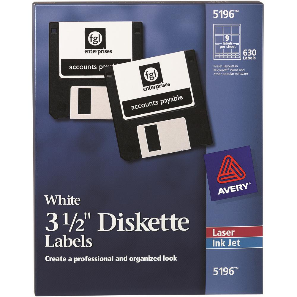 """Avery® 3-1/2"""" Diskette Labels - Permanent Adhesive - Laser, Inkjet - 630 Total Label(s) - 5. Picture 1"""