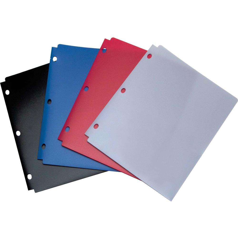 "Wilson Jones 2-pocket Snapper Folder - For Letter 8 1/2"" x 11"" Sheet - Ring Binder - Rectangular - Red, Blue, Black, Purple - Poly - 1 Each. Picture 1"