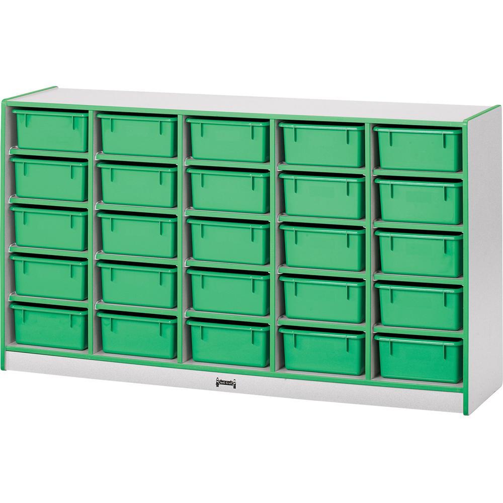 "Jonti-Craft Rainbow Accents Cubbie Mobile Storage - 25 Compartment(s) - 35.5"" Height x 60"" Width x 15"" Depth - Floor - Orange - Hard Rubber - 1Each. Picture 1"
