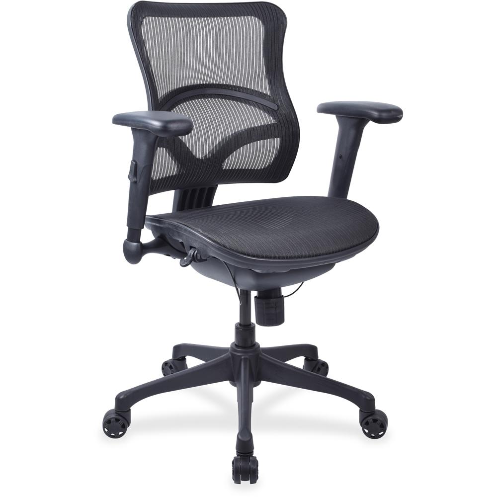 Lorell Full Mesh Mid-back Chair - Plastic Black Frame - 5-star Base